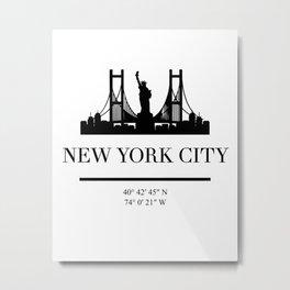 NEW YORK CITY NEW YORK BLACK SILHOUETTE SKYLINE ART Metal Print