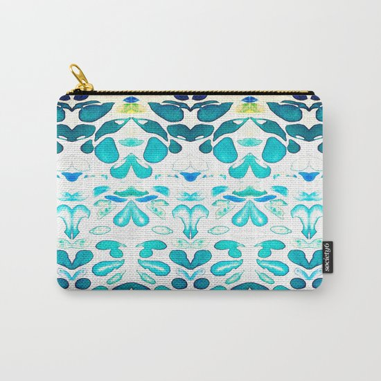 Memories of Summer, Bright Sea Blue and Yellow Carry-All Pouch