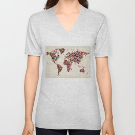 Butterflies Map of the World Map Unisex V-Neck