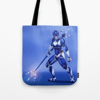 power ranger Tote Bags featuring Blue Ranger by Isaiah K. Stephens