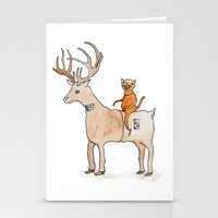 suit Stationery Cards featuring Deer Suit, Cat Suit by Brent Braaten