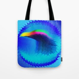 The emblem of an eagle bird head in motion blur. Medal with the image of an eagle on a blue backgrou Tote Bag