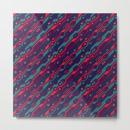 70s Mod Sci Fi Inspired Print in Teal Red Blue and Purple Metal Print