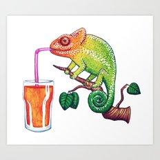 Chameleons Love Orange Juice Art Print