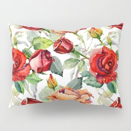 Modern hand painted romantic red orange watercolor roses floral Pillow Sham