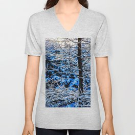 Young Larix Tree In The Winter Forest At Sunset Unisex V-Neck