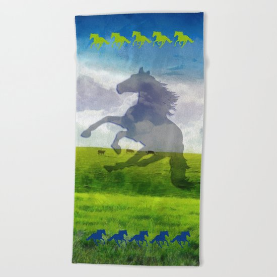 Horse fantasy Beach Towel