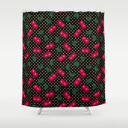 Cherries on Gold and Black Polka Dots Shower Curtain
