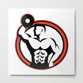 Bodybuilder Lifting Dumbbell Retro Metal Print