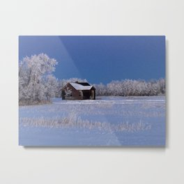 Farm House Winter - Alberta, Canada  Metal Print