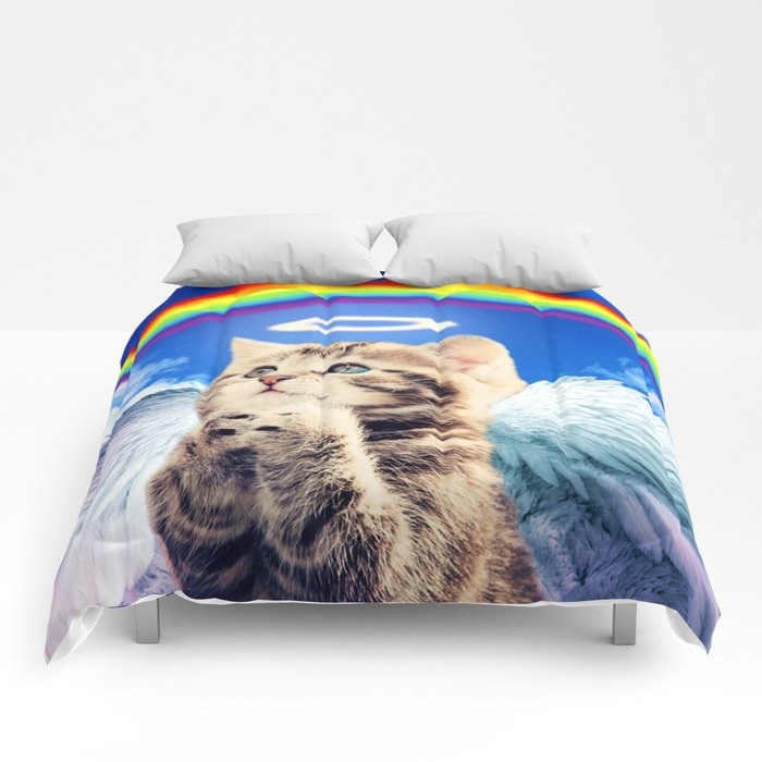 rainbow cat comforters by marios society6. Black Bedroom Furniture Sets. Home Design Ideas