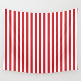 Vertical stripes - red and white Wall Tapestry