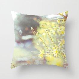 Yellow Forsythia Throw Pillow