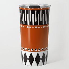Bohemian orange, black&white tribal vibe Travel Mug