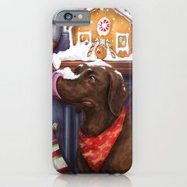 Chocolate Lab Gingerbread House iPhone Case