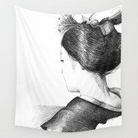 geisha Wall Tapestries featuring geisha by EKRA86