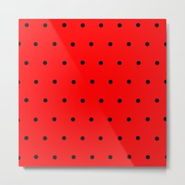 Black dots on red background Metal Print