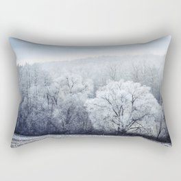 Foggy Winter Landscape with snow covered Trees Rectangular Pillow