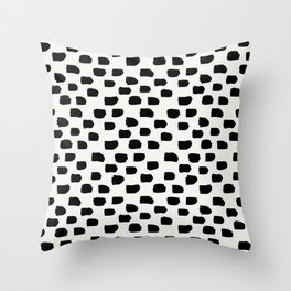 Black Brush Strokes Throw Pillow