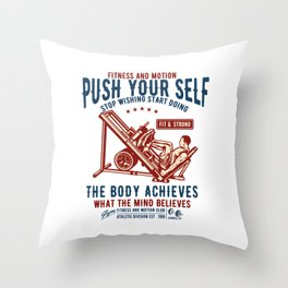 Stop Wishing Start Doing - Gym Motivation T Shirt Throw Pillow