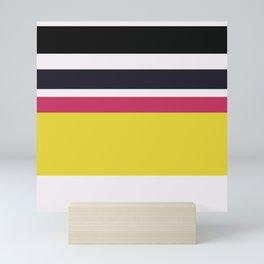 An astonishing integration of Very Light Pink, Raisin Black, Smoky Black, Dingy Dungeon and Piss Yellow stripes. Mini Art Print