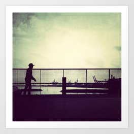 Out on my skateboard, the night is just humming Art Print