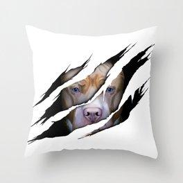 Pit Bull Torn Effect illustration Throw Pillow