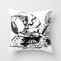 crab Throw Pillows featuring Crab by Cowbird