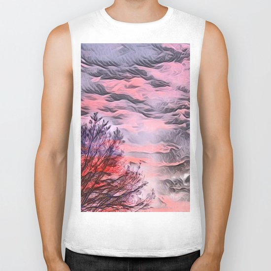A German Sunset Sky with Tree (Landscape Nature) Biker Tank