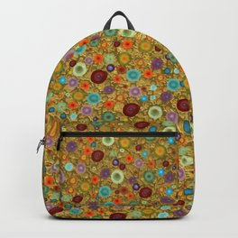 Playful Watercolor dots pattern - Gold Backpack