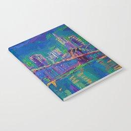 New York City Night Lights - palette knife painting urban Brooklyn bridge skyline Notebook