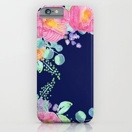 pink peonies with navy background iPhone Case