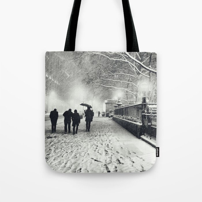 New York City Snow Bryant Park Tote Bag