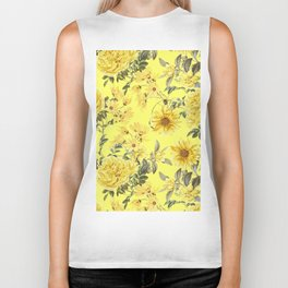 Vintage & Shabby Chic - Yellow Summer Flowers Biker Tank