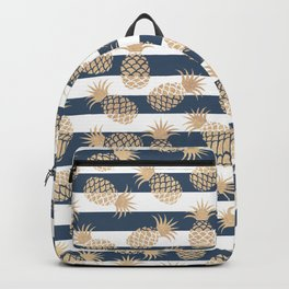 Nautical modern navy blue white stripes blush beige pineapple Backpack