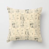 mortal instruments Throw Pillows featuring Surgical Instruments by Noughton