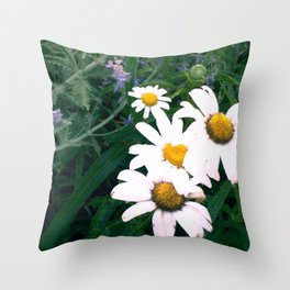Daisies and Russian Sage Throw Pillow