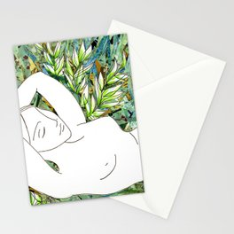 Nude with Green Flowers Stationery Cards