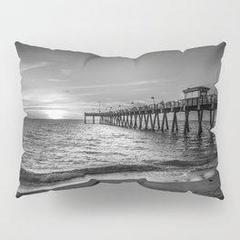 Venice Pier Black and White Pillow Sham