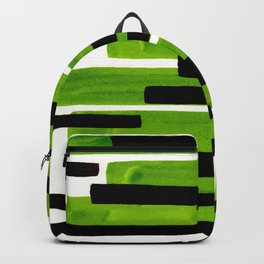 Lime Green Primitive Stripes Mid Century Modern Minimalist Watercolor Gouache Painting Colorful Stri Backpack