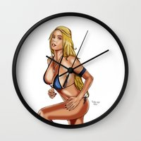 bikini Wall Clocks featuring Bikini Girl by Alessandro Turetta