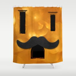 Electric Outlet - Gold Bokeh Moustache Shower Curtain