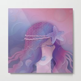 Mermaid IV - Pink Violet Princess Metal Print