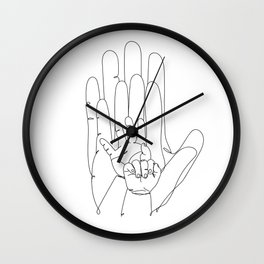 Family of Four Hands One Line Drawing Wall Clock