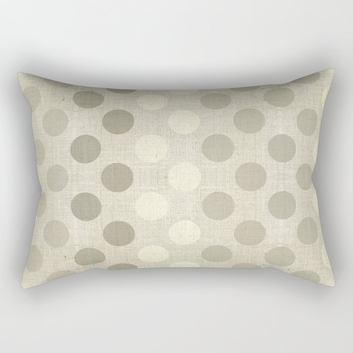 """Nude Burlap Texture and Polka Dots"" Rectangular Pillow"