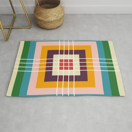 Retro Colored Abstract Shapes Rug