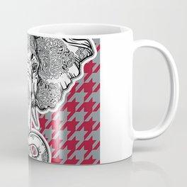 Houndstooth Alabama Crimson and Gray with Elephant Football Coffee Mug