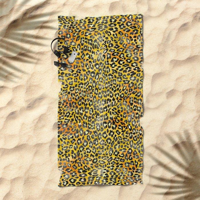 Yellow Leopard Print Beach Towel