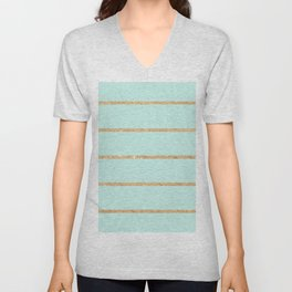 Modern pastel green faux gold glitter stripes pattern Unisex V-Neck