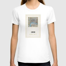 Vintage London Gold Foil Location Coordinates with map T-shirt